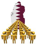lines of people with qatar map flag illustration - stock illustration