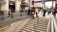 Entrance of Picadilly  station  in London Stock Footage
