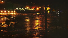 Flood of the river during the night in Rome: tevere, tiber, slow motion Stock Footage