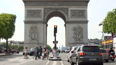 Arc de Triomphe Daylight Wide Shot with tourists Stock Footage