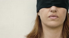 Beautiful blindfolded woman: fear, abduction, loneliness, anguish, distress, 4k Stock Footage