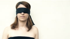 beautiful blindfolded woman: fear, abduction, loneliness, anguish, distress, 4k - stock footage