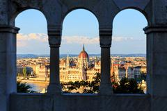 Hungarian parliament building in budapest, view from fisherman's bastion Stock Photos