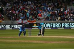 Cricket match between India and England Stock Photos