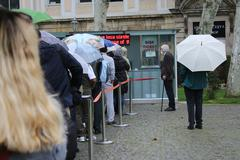 waiting in a queue - stock photo