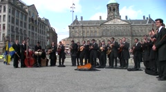 Musical group in concert on Dam Square - Netherland Stock Footage