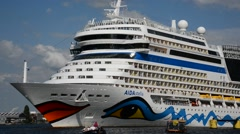 Tourists greetings departing on cruise ship from the port of Amsterdam Stock Footage