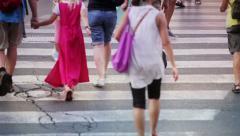 People walking in Rome city center: summer, Roma, crosswalk, zebra crossing Stock Footage
