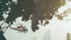 Helicopter rescue / extraction in a urban warzone Stock Footage