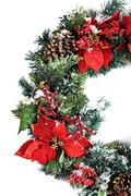 Christmas holiday wreath isolated on white with snow Stock Photos