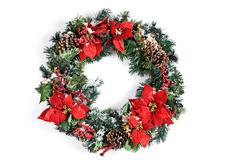 christmas holiday wreath isolated on white with snow - stock photo