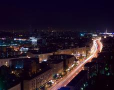 Aerial moscow night Stock Photos