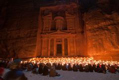 petra, jordan at night - stock photo