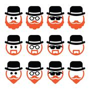 Man in hat with ginger beard and glasses icons set - stock illustration