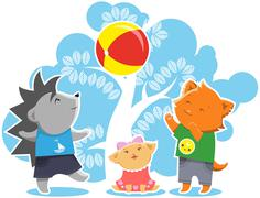 Furry children playing game Stock Illustration