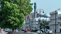 Muttrah (Matrah) Oman sultanate 001 cityscape with street and blue mosque Stock Footage