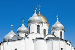 Domes of saint sophia cathedral in kremlin, great novgorod, russia Stock Photos