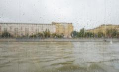 rain on the glass - stock photo