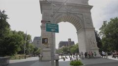 Washington Square Park Arch Manhattan New York City NYC 4K Landmark Stock Footage