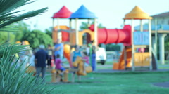 Kids and children play on the playground Stock Footage