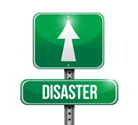 Disaster street sign illustration design Stock Illustration