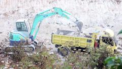 Heavy Machinery 1 of 4 - Excavator Loading a Truck Stock Footage