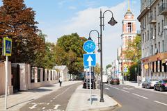new bikeway on pyatnitskaya street in moscow - stock photo