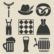 Oktoberfest beer festival icons set Stock Illustration