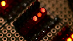 blinking leds on a test pcb - stock footage