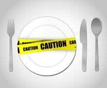Stock Illustration of food caution concept illustration design