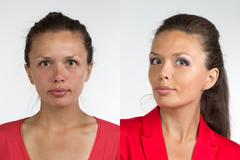 Portrait of young woman before and after make up - stock photo
