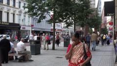 Hindu woman pedestrian, donegall place, belfast, northern ireland Stock Footage