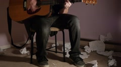 Acoustic Guitar Played With Pan-Up Stock Footage