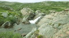 Arctic falls the river in tundra summer Stock Footage