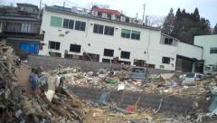 Japan Tsunami Wreckage Hand Held - stock footage