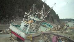 Japan Tsunami Wreckage Hand Held Stock Footage