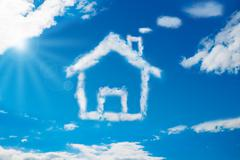 low angle view of house shaped cloud in blue sky - stock illustration