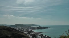 View from Constitution hill onto Aberystwyth, Wales Stock Footage