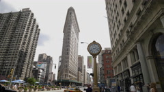 Flatiron Building Famous Clock 5th Ave Manhattan New York City NYC 4K - stock footage
