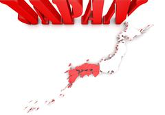 Map of japan with flag Stock Illustration