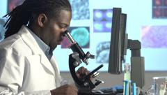 Male Scientist Looking through Microscope - dolly - stock footage