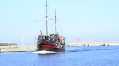 Seaport of Kolobrzeg, Poland with historic ship Stock Footage