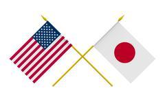 flags, japan and usa - stock illustration