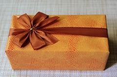 beautifully decorated gift box with bow - stock photo