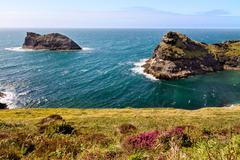 Coastline at Cornish coast near Boscastle, Cornwall, England - stock photo