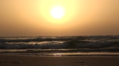 Marine waves on a background sunset of a sun Stock Footage