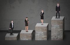 digital composite image of business people standing on bar graph - stock illustration