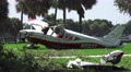 Close Up Plane Crash Wreckage Tropical Palm Trees Debris Broken Wing 4K Footage