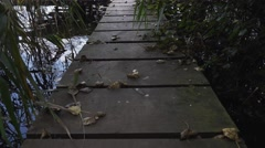 Small pontoon boardwalk dock over water - Abandoned Spaces Stock Footage