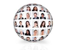 collage of diverse business people in sphere over white background - stock illustration